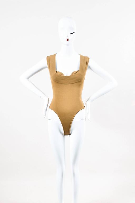 Vintage Alaia Beige Tan Linen Knit 5 Piece Bodysuit & Skirt Suit Set SZ XS S M 5