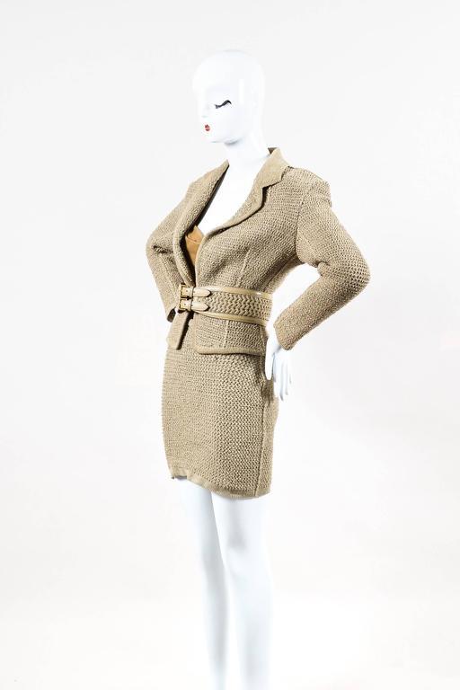 Vintage Alaia Beige Tan Linen Knit 5 Piece Bodysuit & Skirt Suit Set SZ XS S M 2