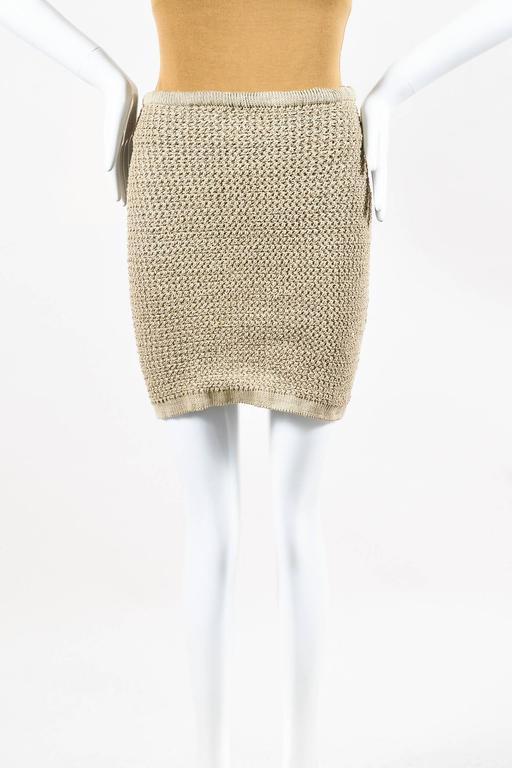 Vintage Alaia Beige Tan Linen Knit 5 Piece Bodysuit & Skirt Suit Set SZ XS S M 4