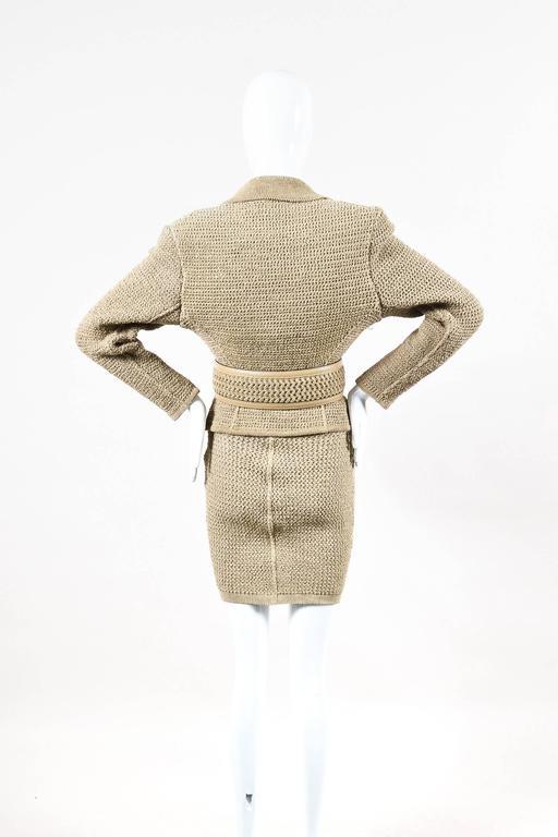 Vintage Alaia Beige Tan Linen Knit 5 Piece Bodysuit & Skirt Suit Set SZ XS S M 3