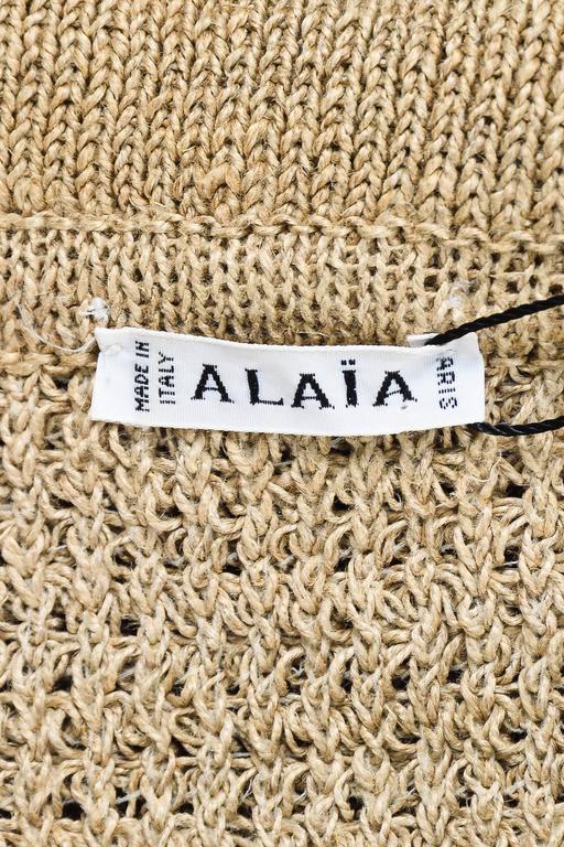 Vintage Alaia Beige Tan Linen Knit 5 Piece Bodysuit & Skirt Suit Set SZ XS S M 7