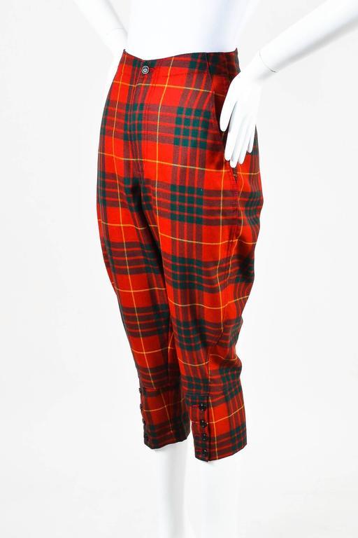 Comme des Garcons Red Green Yellow Wool Plaid Print Capri Pants SZ XS 2