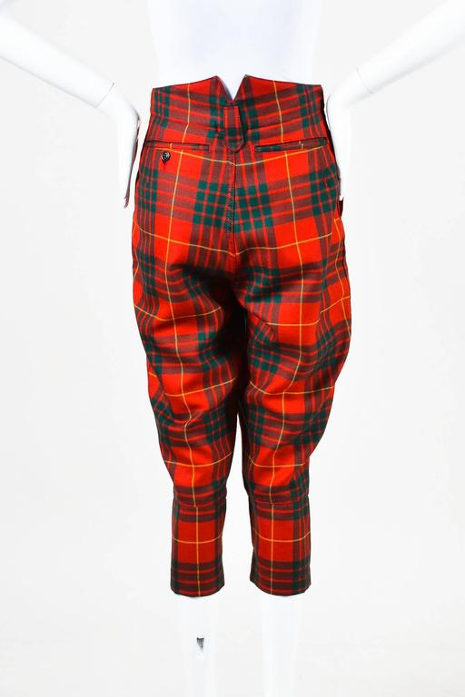 Comme des Garcons Red Green Yellow Wool Plaid Print Capri Pants SZ XS 3