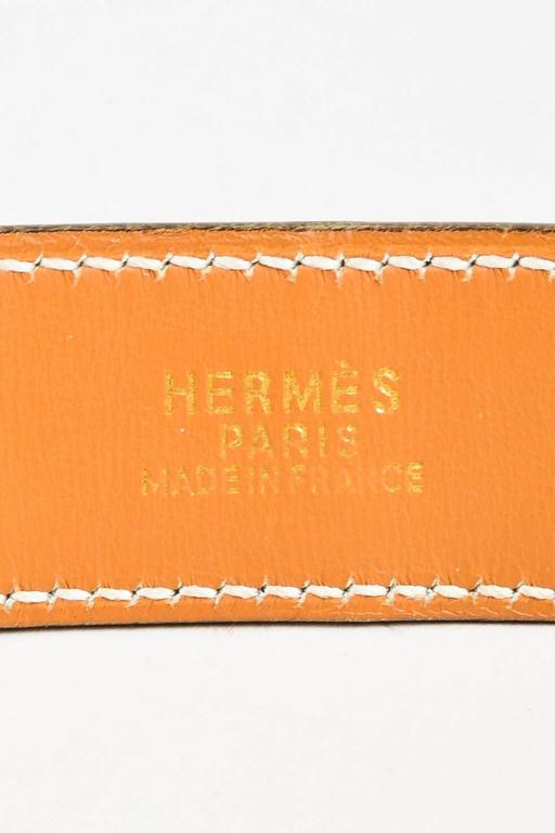"""Hermes Green & Gold Tone Alligator Leather """"Chaine D'Ancre"""" Belt Size 80 3"""