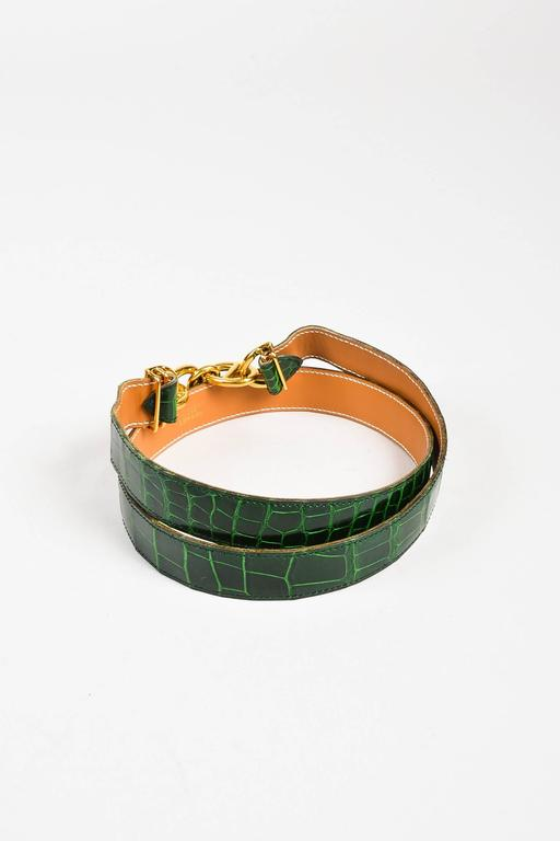 """Hermes Green & Gold Tone Alligator Leather """"Chaine D'Ancre"""" Belt Size 80 2"""