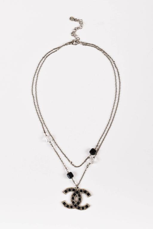 Chanel 08P Silver Tone Black Swarovski Crystal 'CC' Logo Double Chain Necklace 2