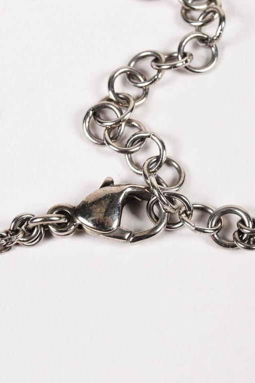 Chanel 08P Silver Tone Black Swarovski Crystal 'CC' Logo Double Chain Necklace 4