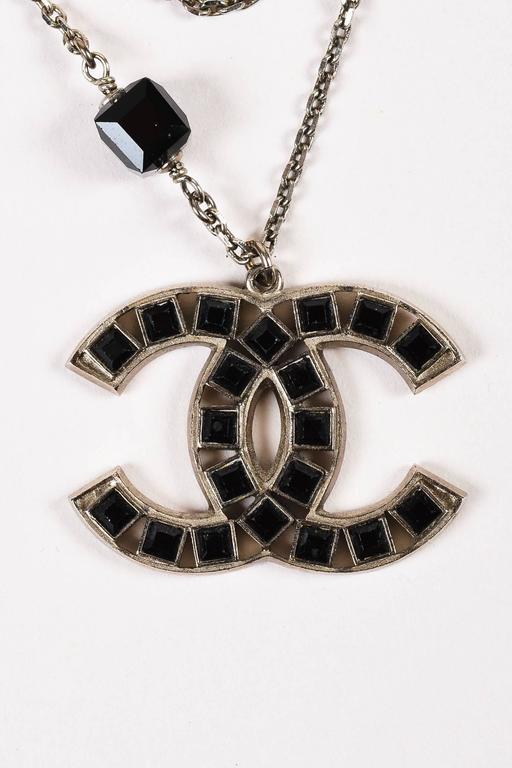 Chanel 08P Silver Tone Black Swarovski Crystal 'CC' Logo Double Chain Necklace 3