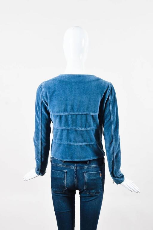Chanel Blue Velvet Button Front Zip Detail Jacket Size 36 2