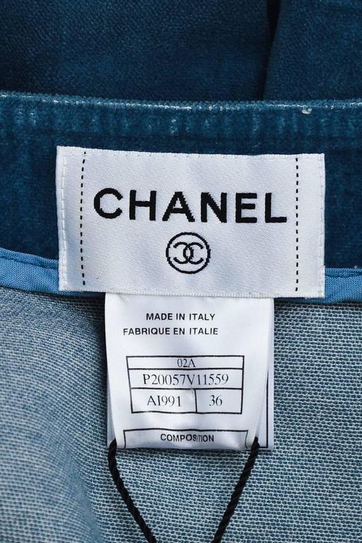 Chanel Blue Velvet Button Front Zip Detail Jacket Size 36 3