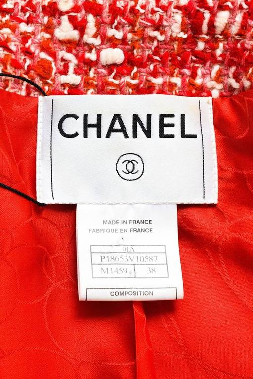 Chanel Red White Tweed Double Breasted 'CC' Button Cropped Jacket Size 38 3