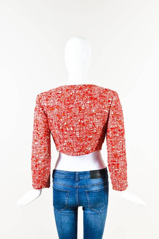 Chanel Red White Tweed Double Breasted 'CC' Button Cropped Jacket Size 38 2
