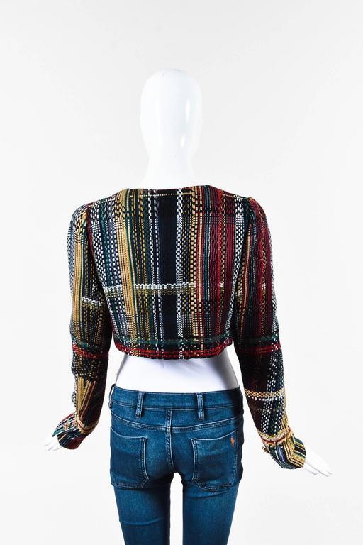 Chanel NWT Runway 2015 Multicolor Tweed Cotton Cropped Long Sleeve Jacket SZ 44 2