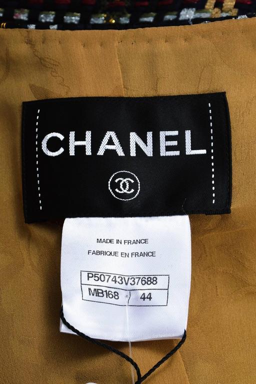 Chanel NWT Runway 2015 Multicolor Tweed Cotton Cropped Long Sleeve Jacket SZ 44 3