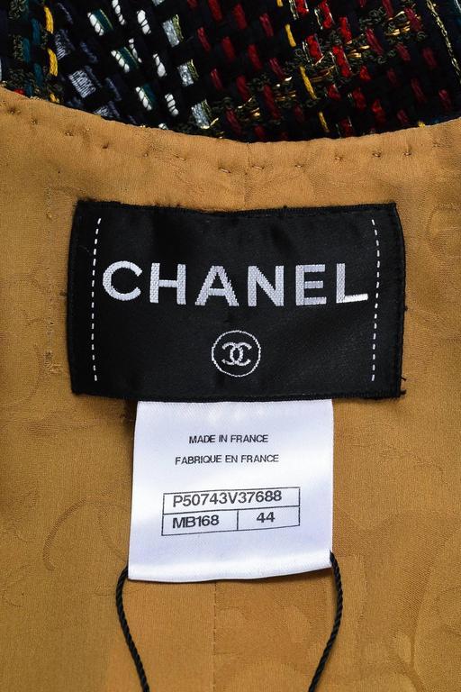 Chanel NWOT Runway 2015 Multicolor Tweed Cotton Sleeveless Buttoned Vest SZ 44 3