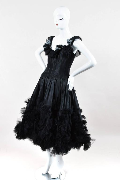 Oscar de la Renta Resort 07 Black Corset Ruffle Dress Size 8 2