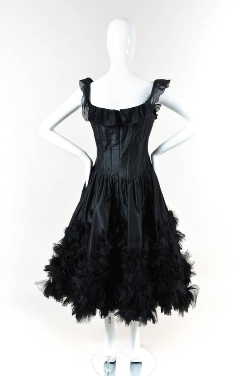 Oscar de la Renta Resort 07 Black Corset Ruffle Dress Size 8 3