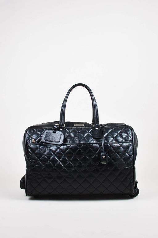 """Chanel Black Multi Leather Quilted Rolling Duffle Luggage """"Paris-New York"""" Bag 2"""