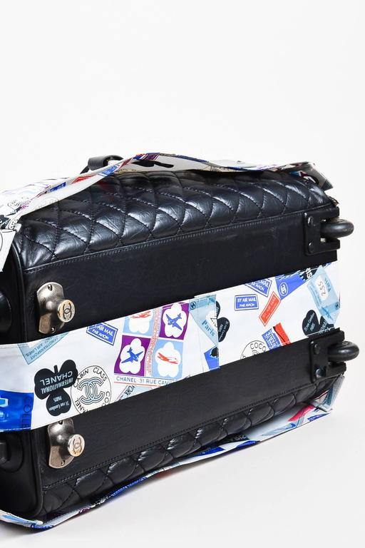 """Chanel Black Multi Leather Quilted Rolling Duffle Luggage """"Paris-New York"""" Bag 4"""