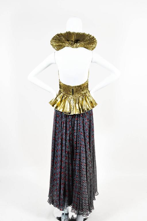 Dolce & Gabbana Gold Tone Navy Silk Lame Nautical Print Halter SL Gown SZ 42 3