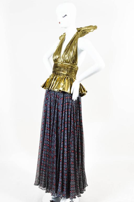 Dolce & Gabbana Gold Tone Navy Silk Lame Nautical Print Halter SL Gown SZ 42 2