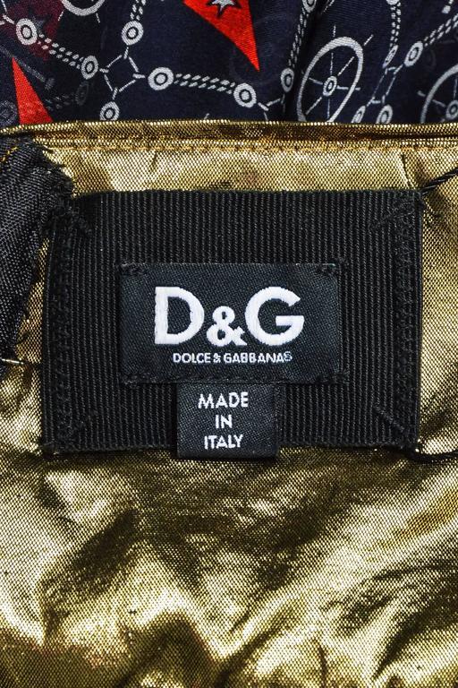Dolce & Gabbana Gold Tone Navy Silk Lame Nautical Print Halter SL Gown SZ 42 5