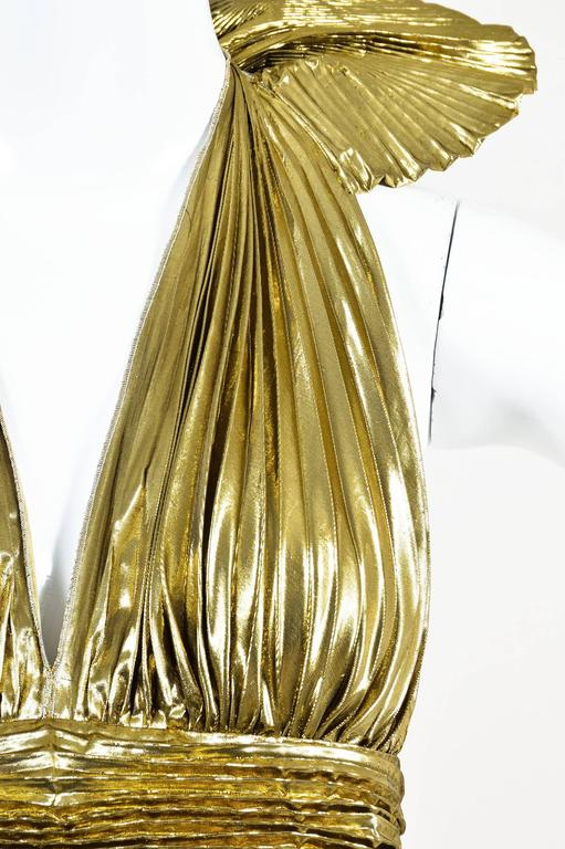 Dolce & Gabbana Gold Tone Navy Silk Lame Nautical Print Halter SL Gown SZ 42 4