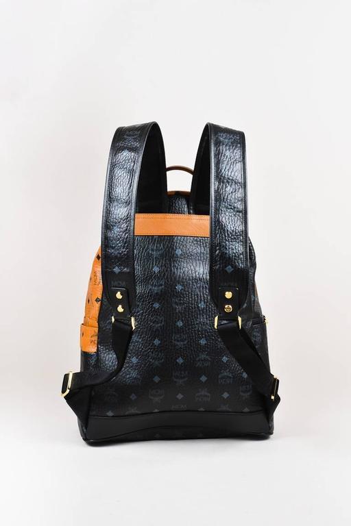 MCM x Stefan Strumbel Limited Edition Tan Black Leather Medium Backpack 3