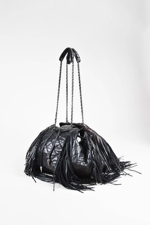 "Chanel Black Lambskin Leather Quilted ""Paris Dallas"" Drawstring Fringe Bag 2"