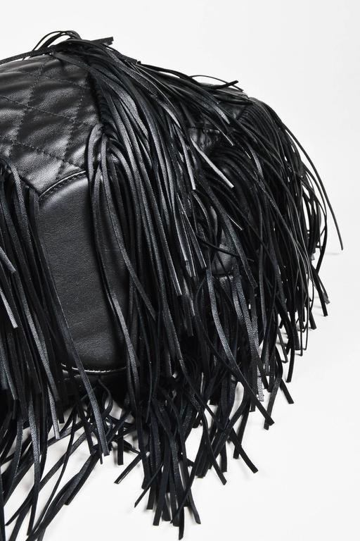 "Chanel Black Lambskin Leather Quilted ""Paris Dallas"" Drawstring Fringe Bag 3"