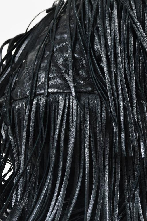 "Chanel Black Lambskin Leather Quilted ""Paris Dallas"" Drawstring Fringe Bag 4"