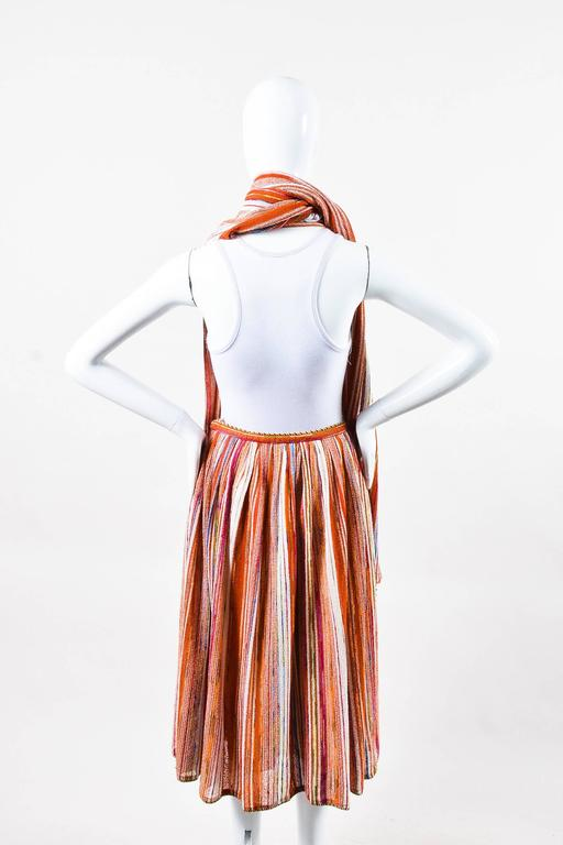 Vintage Lanvin Multicolor Striped Knit Pleated Midi Skirt With Scarf 3