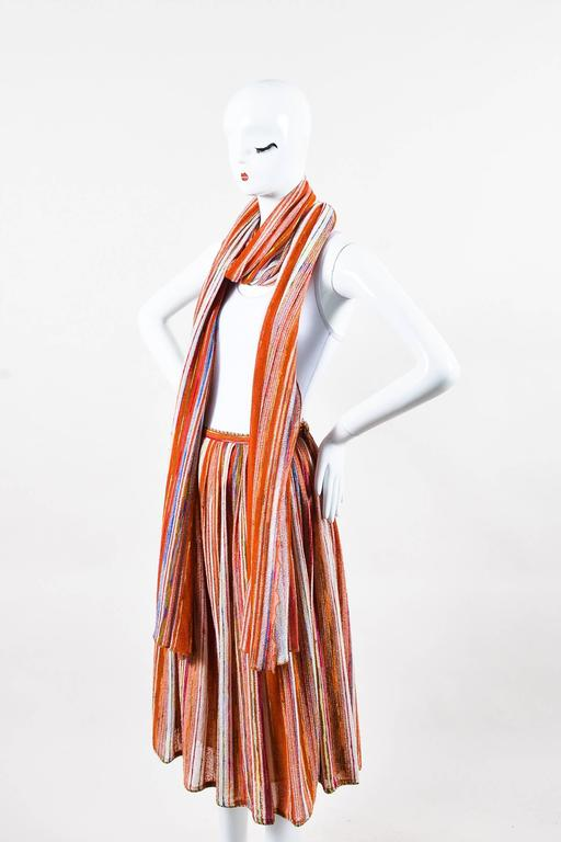 Vintage Lanvin Multicolor Striped Knit Pleated Midi Skirt With Scarf 2