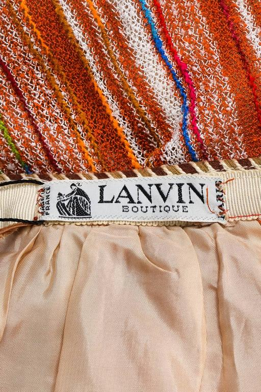 Vintage Lanvin Multicolor Striped Knit Pleated Midi Skirt With Scarf 4