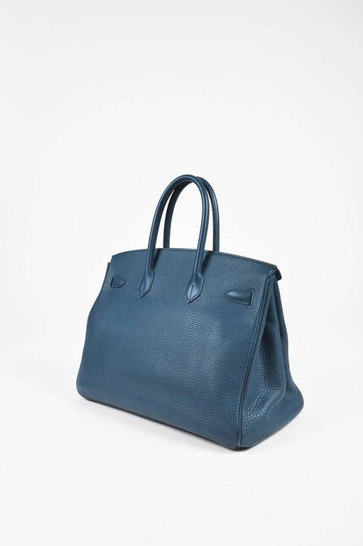 Hermes Bleu Thalassa Clemence Leather Birkin 35 cm Bag 2