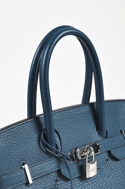 Hermes Bleu Thalassa Clemence Leather Birkin 35 cm Bag 5