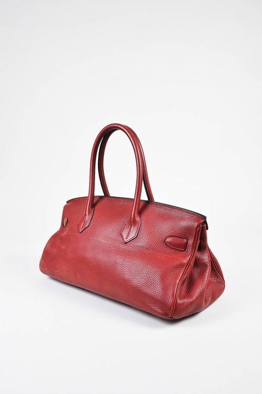 "Hermes Burgundy Red Leather Palladium Top Handle ""JPG Birkin 42"" Bag 2"