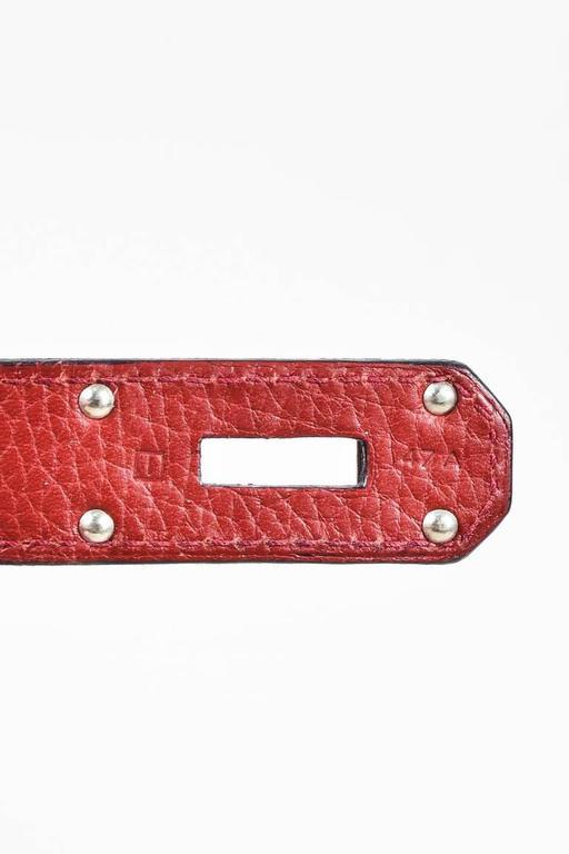 "Hermes Burgundy Red Leather Palladium Top Handle ""JPG Birkin 42"" Bag 9"