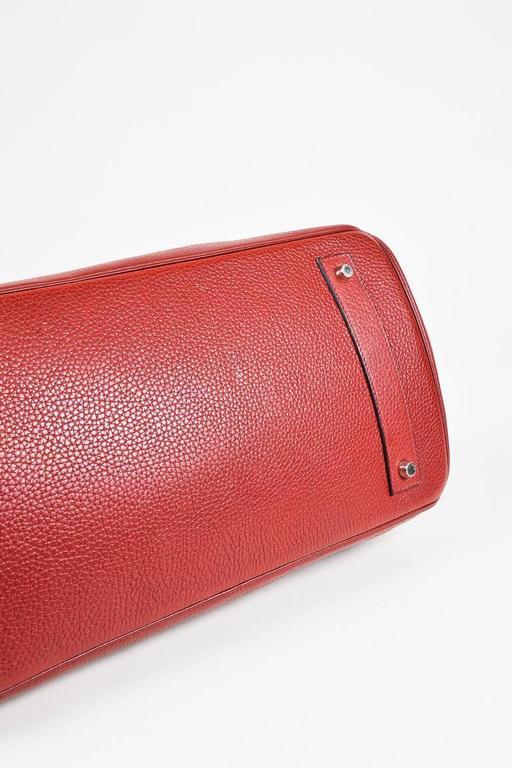 "Hermes Burgundy Red Leather Palladium Top Handle ""JPG Birkin 42"" Bag 4"