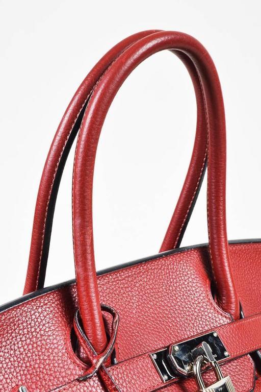 "Hermes Burgundy Red Leather Palladium Top Handle ""JPG Birkin 42"" Bag 3"