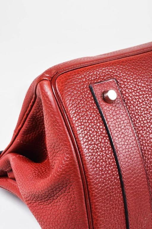 "Hermes Burgundy Red Leather Palladium Top Handle ""JPG Birkin 42"" Bag 5"