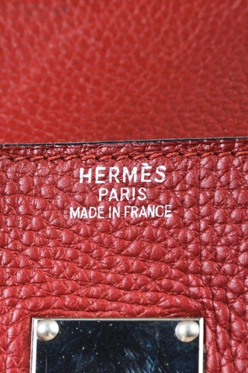 "Hermes Burgundy Red Leather Palladium Top Handle ""JPG Birkin 42"" Bag 8"