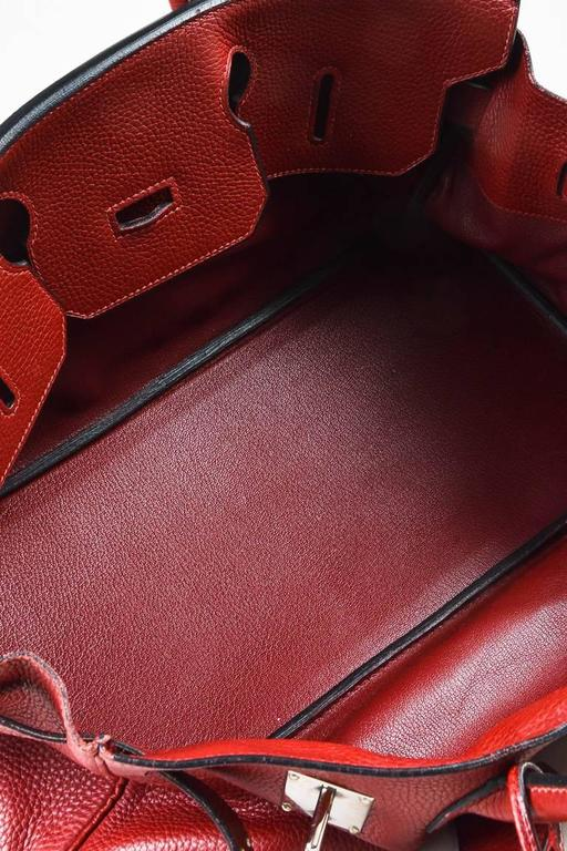 "Hermes Burgundy Red Leather Palladium Top Handle ""JPG Birkin 42"" Bag 6"