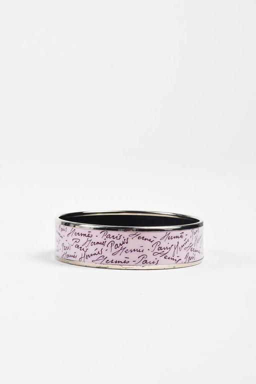 Hermes Palladium Plated Purple Enamel Printed Bangle Bracelet SZ 65 7
