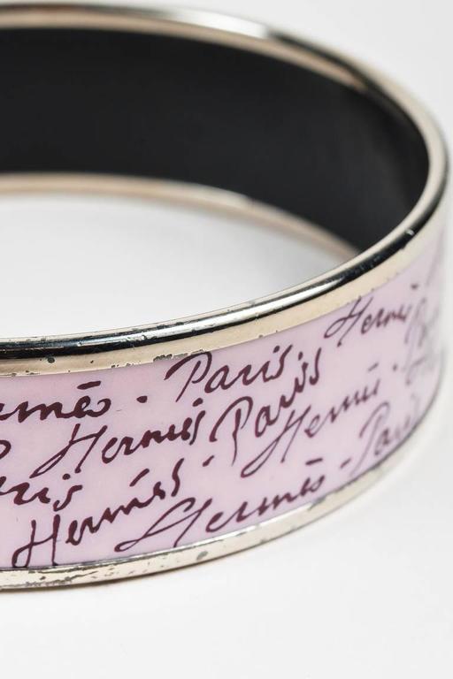 Hermes Palladium Plated Purple Enamel Printed Bangle Bracelet SZ 65 4