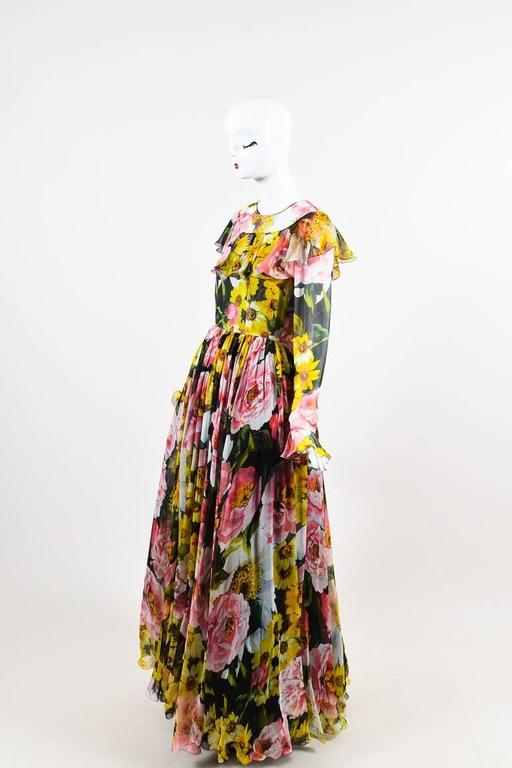Dolce And Gabbana New W Tags Pink Black And Yellow Silk