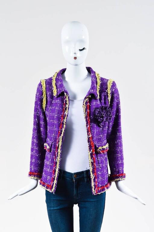 Chanel 06P Purple Red Yellow Silk Blend Tweed Floral Pin Blazer Jacket Size 42 2