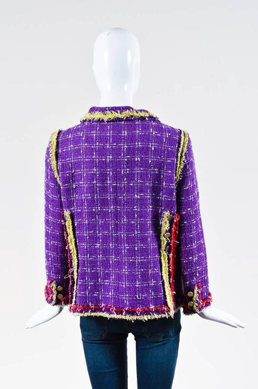 Chanel 06P Purple Red Yellow Silk Blend Tweed Floral Pin Blazer Jacket Size 42 3