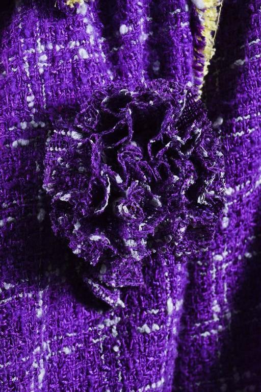 Chanel 06P Purple Red Yellow Silk Blend Tweed Floral Pin Blazer Jacket Size 42 4