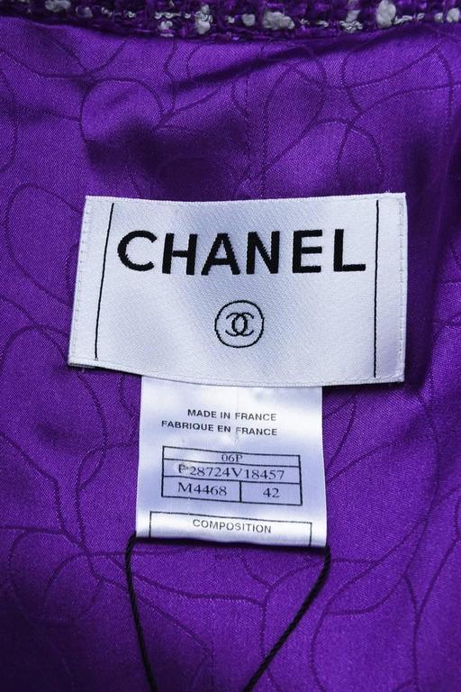Chanel 06P Purple Red Yellow Silk Blend Tweed Floral Pin Blazer Jacket Size 42 5